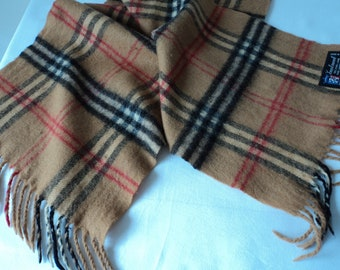 French vintage brown plaid pure lambs wool scarf (06183)