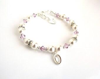 Childrens Jewelry, Child Bracelet Personalized, June Birthstone Bracelet, Girls Initial Bracelet, Childrens Birthstone Jewelry, Girl Jewelry