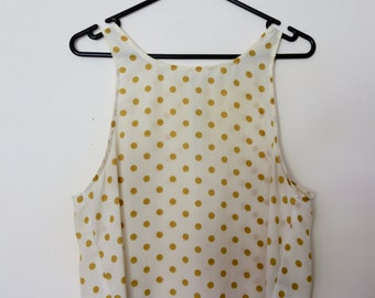 Vintage 1990s High Neck Cream and Mustard Yellow Polka Dot Spot Crop Sleeveless Tank Top Vest Singlet