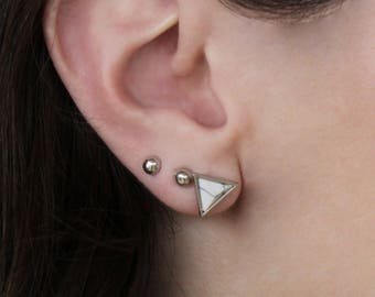 HEALING GEMS: Triangle stud earrings in White Howlite for Stress & anxiety. Your choice of gold or silver plated.