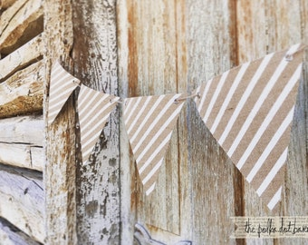 White Stripe Burlap Pennant banner -Burlap banner for parties and weddings- Stripe Burlap Banner - Stripe Burlap Garland - Stripe Burlap