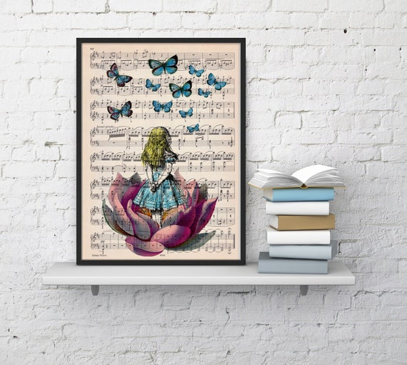 Alice in wonderland looking for blue butterfly over a music sheet- Nursery Wall decor, art print ALW013MSL