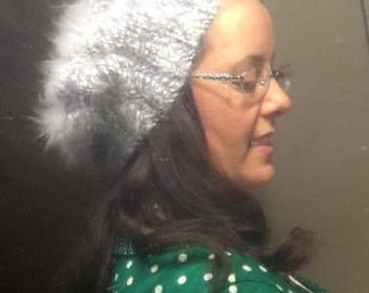 Angora/Wool Cabled Slouch Hat