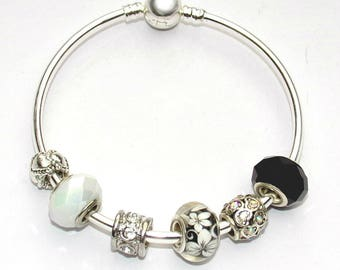Pandora Style Bangle with Charms, silver, black and white