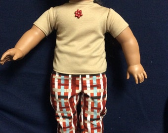 Tan Top and Brown Plaid Pant Outfit for American Girl Dolls