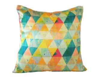Triangle Print Pillow Cover/ Dupioni Silk Pillows/ Yellow & Pink Pillow Cover/ Cushion Cover/ Decorative Pillows/ Colorful Throw Pillows