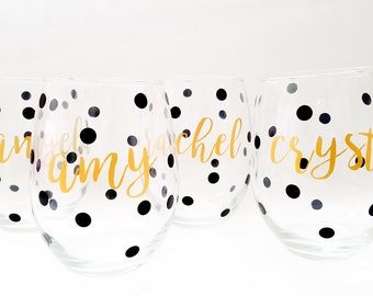 Set of 4   Custom Wine Glass, Stemless Wine Glass, 15 oz, Bridesmaids Gift, Bridesmaid Gift, Personalized Gift, Monogrammed Gift, Gift