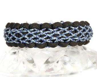 Laced Bracelet, Stitched Paracord Bracelet, Woven Bracelet, Celtic Bracelet, Blue Bracelet, Micro Cord, Diamond Pattern, Intricate