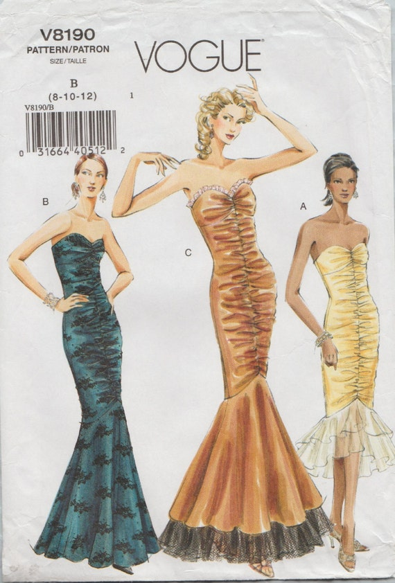 Vogue 8190 / Out Of Print Sewing Pattern / Strapless Gown / Fishtail ...
