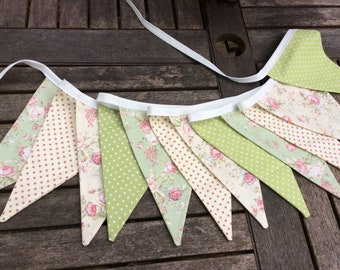 Floral Bunting - green cream floral bunting 12 flags, spring fabric garland in mixed floral and checks