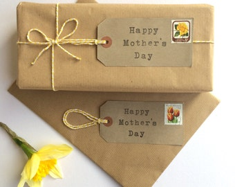 Mothers Day Gift Tags - Mothers Day Gift Wrap Set - Happy Mothers Day - Floral Gift Wrap - Vintage Wrapping Paper - Gift Wrap Paper - Stamps
