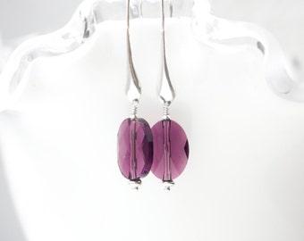 Amethyst Crystal Earrings , Amethyst Terdrop earrings , Oval Amethyst Earrings , Purple earrings , Swarovski Crystal , Gift , Long earrings