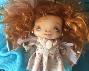 Handmade-Rag Doll-Angel doll, guardian angel doll, handmade doll, rag doll, interior decor fabric Doll by Fielana