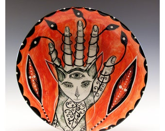 A Unique Hand Painted Plate - Painting by Jenny Mendes on a round ceramic  plate - Third Eye of the Cat