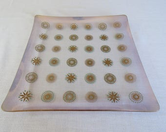 Mid Century Glama Glass Sinclair Square Serving Platter Plate - Turquoise and Gold Sunburst Design