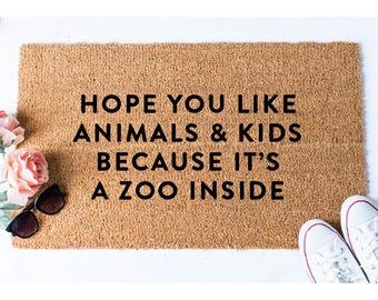 Animals and Kids Doormat - Dog Doormat - Funny Doormat - Funny Doormats - Welcome Mat - Goldendoodle Doormat - Funny Mat - Quote Doormat