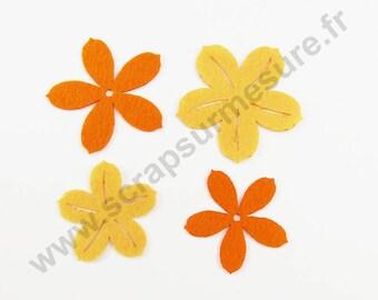 ORANGE felt - Flower - 2 sizes - x 8 pcs
