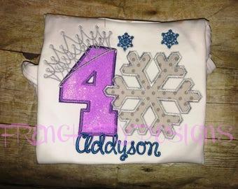Customized Snowflake Crown Applique T-Shirt
