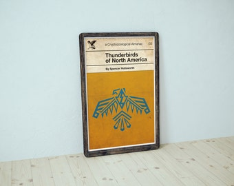 Thunderbirds of North America // Retro Book Cover // Vintage Inspired Fantasy Almanac with Amber & Teal Native American Pictograph