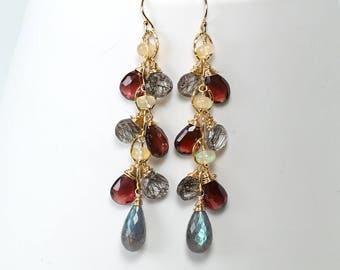Labradorite cluster earrings - dangle drop Garnet, Black Rutilated Quartz, Ethiopian Opal and Labradorite in gold jewelry, Fall earrings