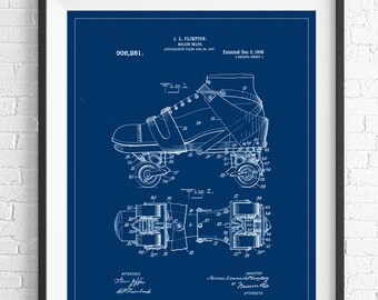 Roller Skate Patent Print, Patent Art, Roller Skate Blueprint, Office Wall Art, Gifts for Her, Roller Derby Gift, Vintage Patent Poster