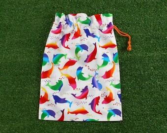 Rainbow dolphins small drawstring bag, kids small toy bag, gift bag, treasure bag