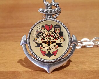 Sailor Jerry Necklace, stewed screwed and tattooed necklace, tattoo necklace, Silver Plated necklace, Anchor setting (15sa)
