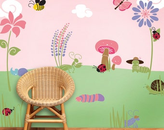 Bug Flower Garden Wall Stencil Kit For Baby Girl Room (stl1005)