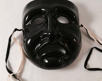 """Mardi Gras Porcelain Mask, Black Tragedy, Vandor 1984, hand painted, Vintage, 8.5"""""""