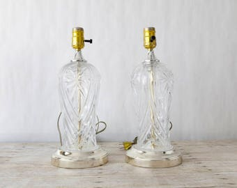 Pair Of Vintage Clear Glass Lamps In Working Condition