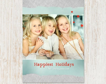Holiday Photo Card - custom - personalized with your name and photo - CHRISTMAS or Hannukah