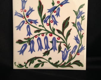 WHEELING Hand Painted Tile,Vintage Hand Painted Bluebell floral tile