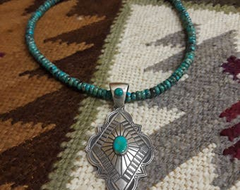 Sterling silver native American turquoise pendant with turquoise necklace