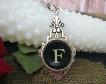 Initial F Antique Typewriter Key Pendant, Letter F, Initial Necklace
