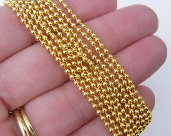 8m Ball chain 2mm gold plated FS394
