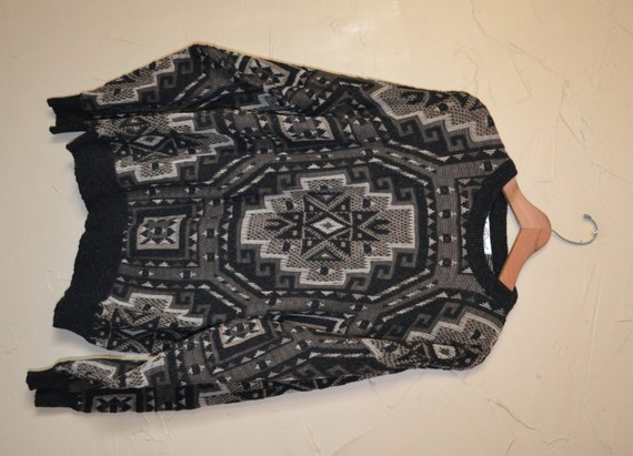 Southwestern Sweater Mens Pullover Sweater Jantzen Sweater Black and Beige Sweater Oversized Sweater Size Large