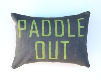 Paddle Out Pillow / Beach House Throw Pillow / Surfer Chic / Gray and Yellow Pillow / Beach House Decor