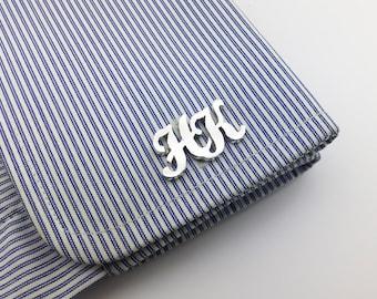 Letters Cufflinks - Personalized Cufflinks -Father's day gift, Initial Cufflink, Groom Wedding Cufflinks, Men Cufflinks - Initials Cufflinks