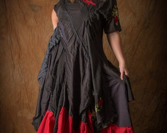 Black & red boho wedding dress; gothic ball gown; bohemian gypsy prom dress with roses embroidery and ruffles. Valentine's Day evening dress