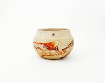 Vintage Nemadji Pottery Hanging Planter / Orange and Brown Swirls