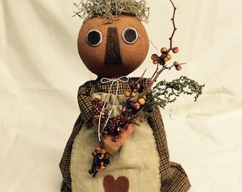 Fall Decor | Pumpkin Head | Primitive Pumpkin Head Doll | handmade doll | Fall decoration | Primitive fall decor |