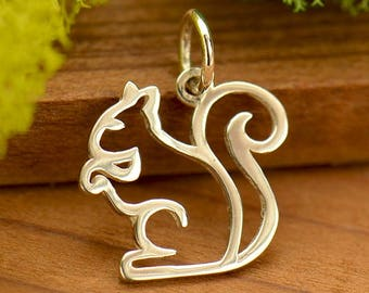 Sterling Silver, Squirrel Charm, Squirrel Jewelry, Silver Squirrel, Openwork Squirrel, Animal Charm, Animal Jewelry, Woodland Animal