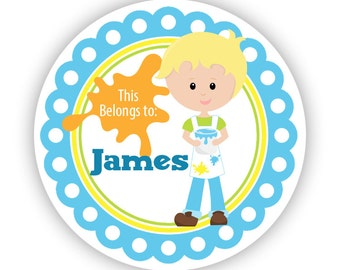 Personalized Name Tag Stickers - Blue Green, Art Boy Artist Painting Name Label Tag Stickers - Round Name Tags - Back to School Name Labels