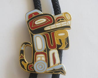 Handcrafted Rainbow Enamel  Northwestern Eskimo God Dog Bolo Tie IC  Lot M