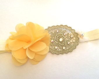 Yellow Bling Baby Headband, Flower Headband, Embellished with Swarovski Crystals, Newborn headband, soft elastic headband, Photo Prop