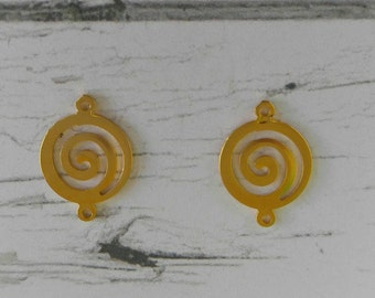 Gold Spiral Connectors// Gold Swirl Charms// Round Spiral Pendants// 2 pieces