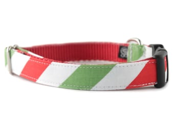 Red and Green Dog Collar - Red and White Stripe Dog Collar - Candy Stripe Dog Collar - Pet Collar - Holiday Collar - Christmas Collar