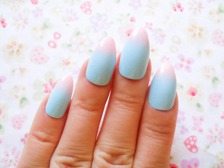 Pastel Ombre Fake Nails Almond Nails Stiletto Nails Press