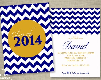 Navy Blue and Gold Graduation Party Invitation Class of 2018 Chevron Double Sided Party Invite Masculine Printable 5x7 JPG File Invite 10a