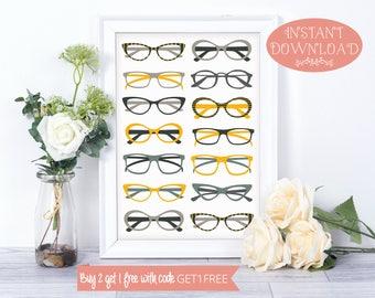 Printable Wall Art, Glasses Wall Art, Wall Art Prints, Glasses Print, Wall Art, Printables, Minimalist Print, Modern Art, Instant Download